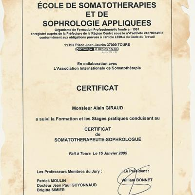 1er Diplôme  de sophrologue Alain Giraud (Tours 2005)