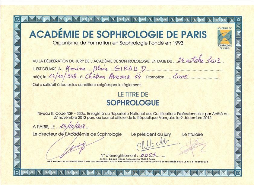 Titre RNCP de sophrologue Alain Giraud (Paris 2013)