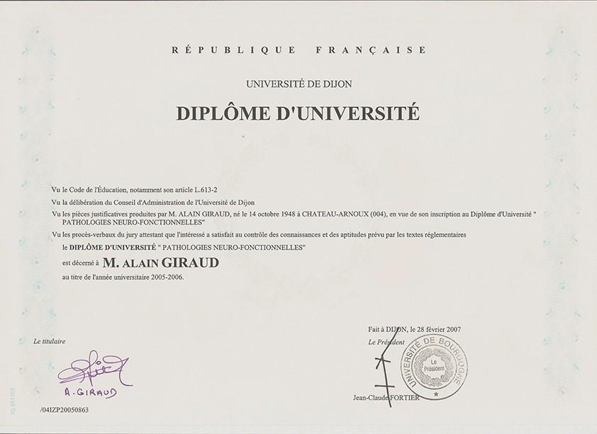 DU pathologies neuro - fonctionnelles (fac Dijon 2006)